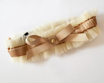 INESS Nude Tulle and silk satin Wedding garter with grosgrain ribbon Bow - wedding lingerie