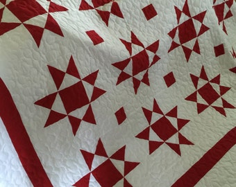 Quilt Ohio Star Red and White Medium Block Quilt Made to Order