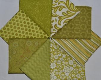Yellow-Green Designer Fat Quarter Bundle, 2 yards total