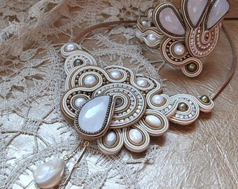 Soutache embroidered necklace
