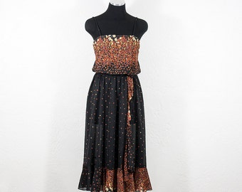 Vintage Black Brown Floral Spaghetti Strap Dress