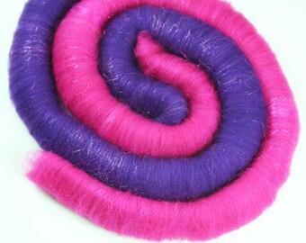 RASPBERRY Beret LOVES Purple RAIN - Superwash Targhee/Firestar rolags, 3.6oz
