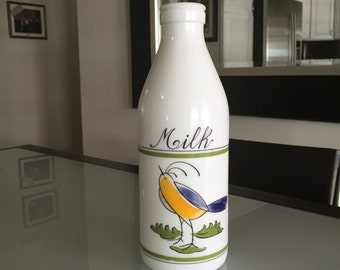 Egizia Milk Bottle Made in Italy/Glass Bottle/Milk Glass Bottle/Egizia Italian Milk Glass Bottle with Blue Bird /By Gatormom13 JUST REDUCED