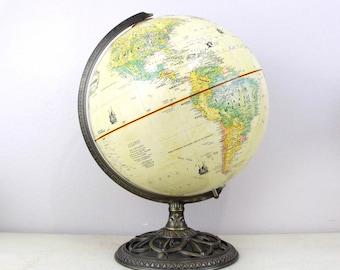 Vintage Globemaster 12Inch Globe with Antique Brass Metal Base by Replogle, Inc, Wedding Decor Globe, Wedding Table Decor Item No 156