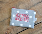 Vampire Teabag- polka dot- ladies zipper pouch - feminine products - tampons - pads clutch - FREE SHIPPING