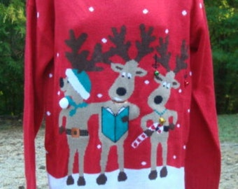 Ugly Christmas Sweater Reindeer All Acrylic Christmas Party Women's Christmas Sweater Size Medium Bust 36 - 38 Women's Sweater