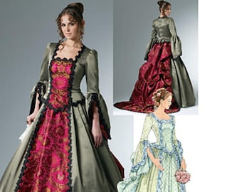 Victorian Steampunk Square Neck Ladies Gown with Bustle and Train Costume Cosplay McCall's 6097 Uncut FF Size 6-12 Womens Sewing Pattern