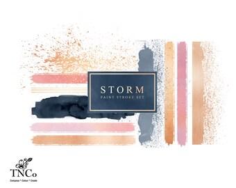 Paint splatter clipart - watercolour paint - Watercolour paint strokes clip art - Brush strokes clip art - Clip art commercial use - TNCo