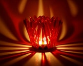 Candle Holder Red Fused Glass