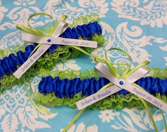 royal blue and apple green Wedding Garter Set ,  lace Personalized , name and date garter, silver bow