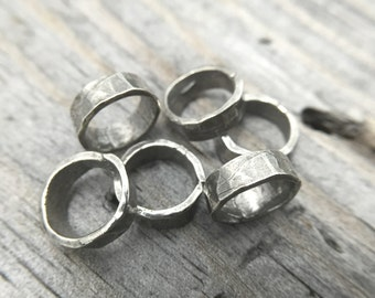 Sterling Silver Wide Hammered Jump Ring Rustic Jewelry Findings Handmade In USA