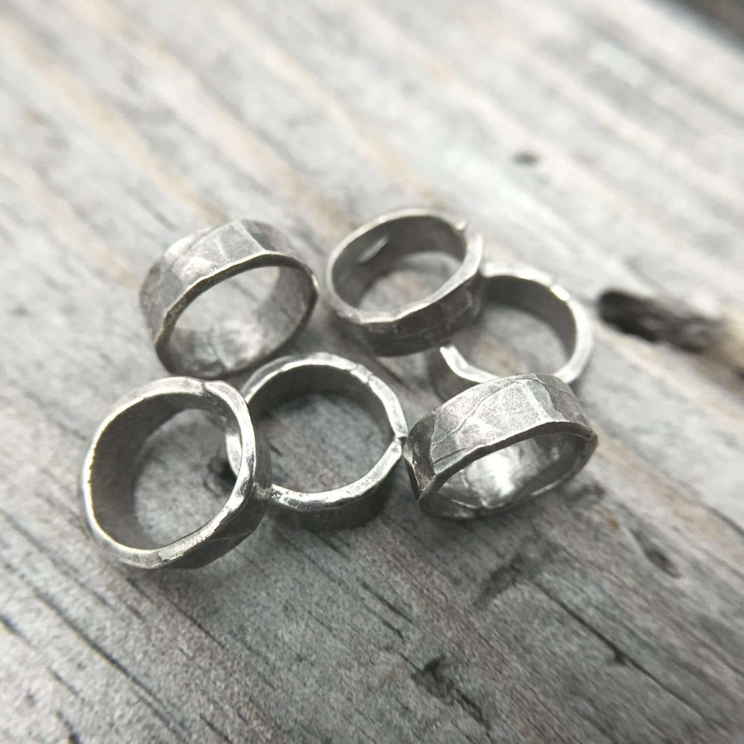 sterling silver wide hammered jump ring rustic jewelry