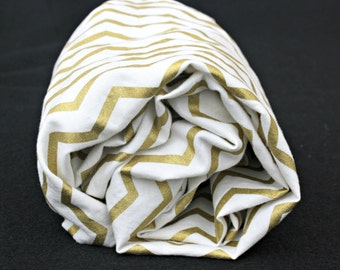 Gold Chevron on White Fitted Crib Sheet/Changing Pad Cover/Mini Crib Modern Baby Bedding for Toddler or Babies -  by Mommy Moxie on Etsy