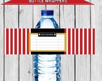 movie party water, movie water, movie party supplies, movie party water labels, movie party water wraps, movie party,