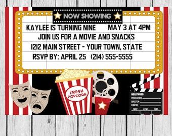 movie birthday, invitation, movie invites, movie invitation, movie party, movie night invite, invites movie invite, cinema party