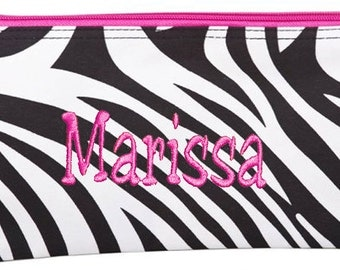 Personalized Cosmetic Case or Pencil Pouch Black & White Zebra Pink Trim