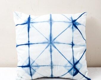 Indigo Itajime Shibori Pillow