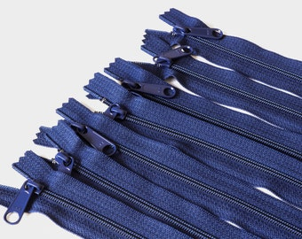 14 inch Long Pull Handbag Zippers 7 pieces in Navy, Diaper Bag Zippers, Closed End Zippers, Navy Zippers, Nylon Coil, 14 inch