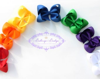 Girls hair bow, large hair bow, hair bow set, rainbow hair bows, jumbo hair bow, toddler hair bow, boutique bow, TBB bow, white hair bow