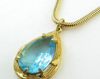 SALE Large 1970's Aquamarine Glass Teardrop Pendant on Snake Chain - Vintage