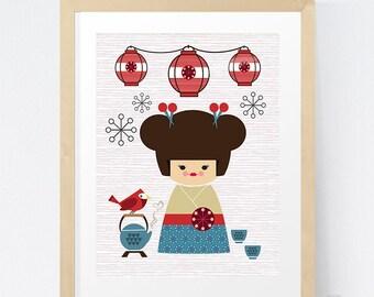 Nursery Art / Kids Art / Kokeshi Art Print / Girls Wall Art / Kokeshi / It's A Lovely Day