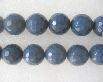 20mm Blue Jade Faceted Round Beads - 15.5 Inch Strand