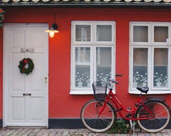 Red House Fine Art Print, Bike Photograph,Travel Photograph, Sweden Photo, Bike Print Travel Art, Europe, Malmo, Cottage Decor, White Door