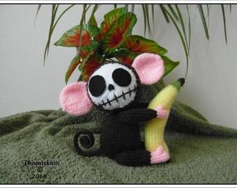 Skelly Chimp monkey knitting pattern PATTERN ONLY Immediate PDF Dowload