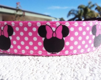 "Disney Minnie Mouse Dog Collar Pink Dot 1"" wide Quick  Release buckle - 3/4"" listing within,upgrade to martingale, Incl dog neck measurement"