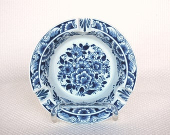 Vintage Blue Floral Delft Ashtray