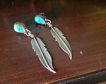 Vintage sterlingsilver and turquoise feather earrings