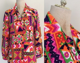 SALE 1970's Geo Print multicolored Polyester Button Up Aztec Print Size Medium by Maeberry Vintage