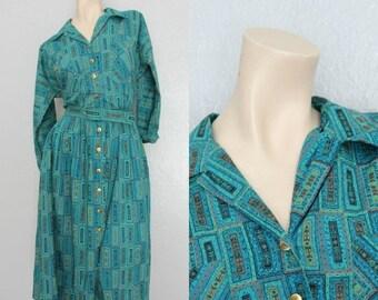 "20% OFF 1950's Teal Blue Atomic Print Vintage Shirtwaist Dress Size Medium/Large 30"" Waist"