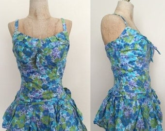 40% OFF 1950's Watercolor Vintage Swimsuit Pin Up Size Small by Maeberry Vintage