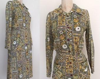 1950's Novelty Print Shirtwaist Dress Button Up Front Cotton Vintage Dress Sz Large by Maeberry Vintage