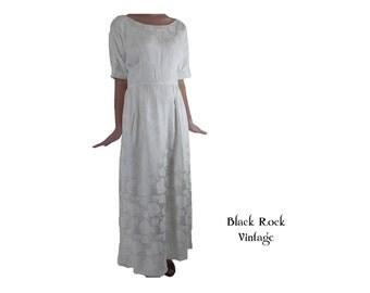 Wedding Dress Ivory Satin Damask Hand Made 1960s Size Small