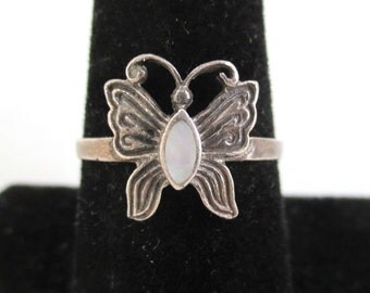 925 Sterling Silver Butterfly Ring - Vintage, Size 8