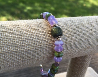 Moss Green Amethyst Bracelet Sterling Silver Purple Wedding Gift Summer
