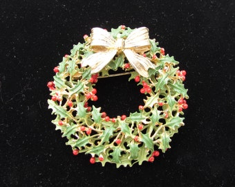 Vintage CHRISTMAS WREATH BROOCH Green Holly with Red Berries and Gold Bow Double Stacked Unique Design