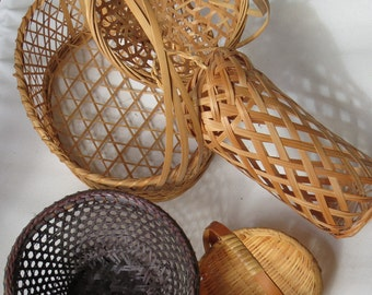Wicker Baskets  Set of 5 Vintage Baskets