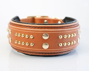 2in Wide Padded Leather Dog Collar - Studded Black Dog Collar for Dobermans Pitbulls Strong Dog Collar - Extra Wide Leather Collar