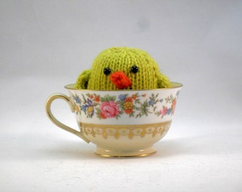 Hand Knit Bird. Lemongrass Green Bird. Baby Bird. Woodland Plushie. Pretend Play. Basket Stuffer. Ready To Ship. Gifts Under 10.