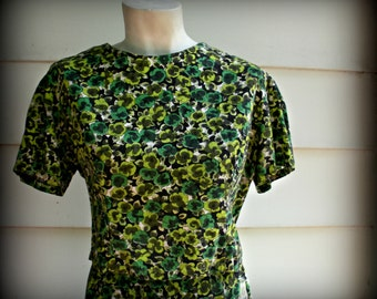 Two-piece Green Shamrock Floral Skirt and Blouse