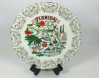 Vintage Florida Souvenir Plate Gold Trim