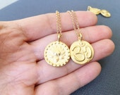 Gold OM Necklace,OM Necklace,OM Charm Necklace,Gold Lotus Necklace,Yoga Charm,Yoga Necklace,Gold Medallion Necklace,Zen Necklace,MomentusNy
