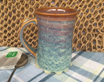 Large (16-ounce) Stoneware Coffee Mug in *Drippy* Opal Glaze