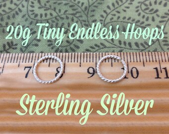 Tiny Sterling Silver Twist Wire Endless Hoops