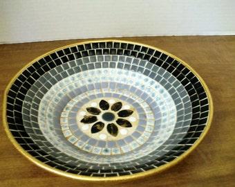 Vintage Retro Mid Century Modern Mosaic Tile Bowl, Black, Grey,White, Blue mosaic tiles
