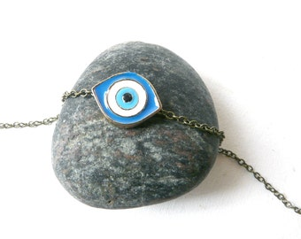Evil eye necklace protection ( blue and white, magic, curse ) 22