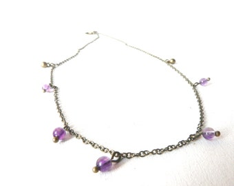 Symbolic and sacred amethyst purple beads necklace ( bobo, gypsy caravan, brass, original, native ) 01